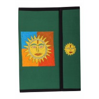 Affaires Ethnic EMBROIDERY FILE FOLDER| Rajasthani Embroidery Print On Cloth Handicrafted Folder (Green) File-0002